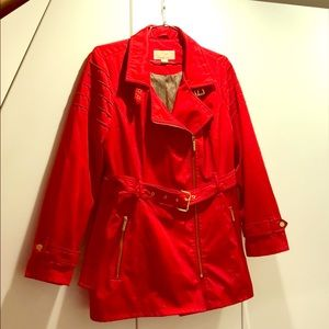 Michael Kors red jacket with belt and gold detail